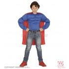 Super varoņa  tērps 128 cm 5-7 gādu vecumā bērniem  krekls ar muskulijem, apmetnis