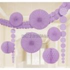 Telpu dekorēšanas komplekts - 3.6m virtene, 2x24cm papīra bumbas, 2x90cm pekārami dekori, 2x30cm un 2x20 papīra fani, violeti