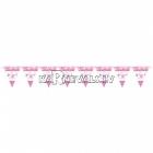 Vimpeļu virtene bērna piedzimšanai, rozā - 24 karodziņi un  4.50m lente