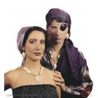 Pirātu aksesuāru komplekts - acs apsējs, auskars, kaklarota un gredzens