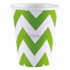 ZIGZAG Papīra glāzes, Kivi krāsa, 256 ml, 8.gab.