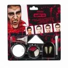 Grima komplekts vampīram - ilkņi, 3 sejas krāsas, mākslīgās asinis.