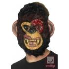Zombija Šimpanzes maska no putu lateksa ar  kažokādu,  melna