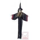 Piekarama raganas skeleta dekorācija ar cepuri, salmu matiem un muslīna auduma mantiju, melna, 70 x 90 cm