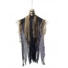 Piekarama skeleta dekorācija ar gariem matiem un muslīna auduma mantiju, 70 x 90 cm