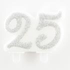 "Skaitlis ""25""  svece tortei, sudraba,  7 cm"