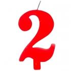 """Tortes svece staitlis """"2"""" , sarkanā, dzirkstošā, 9.5 cm"""