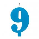 """Tortes svece staitlis """"9"""" dzirkstoša, gaiši zila/tirkīza, 9.5cm"""