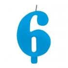 """Tortes svece staitlis """"7"""" dzirkstoša, gaiši zila/tirkīza, 9.5cm"""