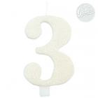 "Tortes svece skaitlis ""3"", balta, spīdīga,  9.5 cm"