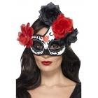 Halovina dienas pusloka acu maska ar rozēm, melns ar sarkanu