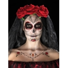 Grima komplekts -  krāsas sejai - sarkana, melna, tetovējuma uzlīmes, krītiņs un aplikators