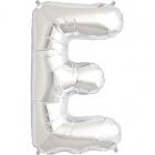 """Burtu balons sudraba krāsā  """"E"""",  87cm, folijas figūra paredzēta piepūšanai ar hēliju"""