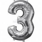 43cm x 66cm Skaitlis 3 Folija balons Super figure Sudrabs