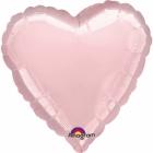 Sirds formas balons pasteļrozā krāsā, folija, izmērs 43 cm