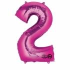 """Ciparu folijas balons rozā krāsa """"2"""",  87cm, folijas figūra paredzēta piepūšanai ar hēliju"""