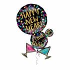 """Folijas hēlija balons """"Laimīgu Jauno Gadu!"""", izmērs 60 x 86 cm,"""