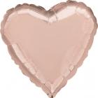 ROZĀ ZELTS  folijas sirds ar hēliju 43 cm