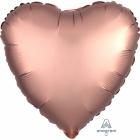 """Sirds formas folijas balons """"Satin Luxe Rozā zelts"""", izmērs, 43cm, piepušams ar hēliju"""