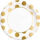8 Papīra  Šķīvji  23 cm GOLD DOTS
