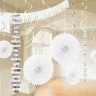 Piekaramo dekorāciju komplekts baltā krāsā, 18 priekšmeti no zīdpapīra un folijas