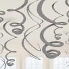 Piekaramās spirālveida folijas dekorācijas, 12 gab, metālika sudrabs, 55,8 cm