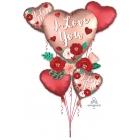 """""""I Love You - Sirds ar ziediem"""" 5 folijas balonu komplekts - 1 x Lielā Figūra un 4 x 43 cm sirds formas baloni, hēlija apjoms 0."""