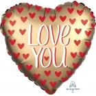 """Folija balons """"Love You Gold"""", Satin Luxe sirds formas balons, 43 cm, hēlija apjoms 0.013 kbm"""