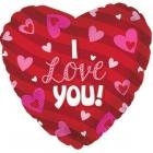Folija sirds formas balons Mīļu Tevi svītras, sarkans, 43 cm., hēlija apjoms 0.013 kbm