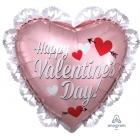 """Folija balons """"Valentīna rozā rozes"""", sirds formas, ar kruzuli,58 x 53 cm, hēlija apjoms 0.028 kbm"""