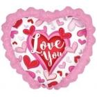"""Folijas hēlija sirds formas balons """"I Love You""""  rozā, ar kruzuli, izmērs 80 cm"""