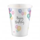 """Glāzītes """"Dzimšanas diena pasteļtoņos"""" 250 ml., 8 gab"""
