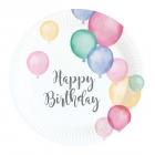 """Šķīvīši """"Dzimšanas diena pasteļtoņos"""", 18 cm., 8 gab"""