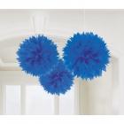 POM PON - zīdpapīra piekaramās dekorācijas, komplektā 3 gab., diam. 41 cm, zilā krāsā.