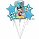"""5 hēlija balonu komplekts """"1. Dzimšanas Diena - Mickey Mouse"""" – 1 balons x 80 cm. un 4 baloni x 45 cm,"""