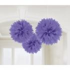 POM PON - zīdpapīra piekaramās dekorācijas, 40.6cm, purpura krāsa, 3.gab. iepakojumā.