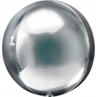 Apaļš folijas  balons, spoguļu sudrabs,  Orbz ®, diametrs 43 cm, piepūšams ar hēliju
