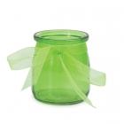 Stikla svečturis / trauciņš ar organzas lenti, zaļš, 7.5 x 6.5 cm