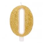 """Svece tortei vai kūkai """"0"""" ciparu formā, zelta, sprakstoša, komlektā ar svečturi, augstums 9.5 cm."""