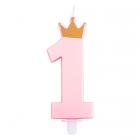 1. dzimšanas dienas tortes svece, rozā ar perlamutru, kopletā ar svečturi, augstums 9.5 cm