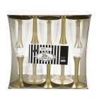 Vīna vai šampanieša plastikātas glāzes ar zeltu kājiņu, 100 ml. x 10. gab.
