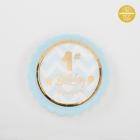 Papīra šķīvji 1. dzimšanas dienai, gaiši zilā krāsā ar zelta apmali, 18 cm, 8 gab.