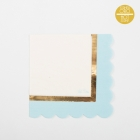 Papīra salvetes gaiši zilā krāsā ar zelta apmali 33 cm, 16 gab.