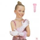 Bērnu garie glamura rozā cimdi ar spalvām un rozēm