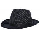 Satīna melnā gangstera cepure ar svītrām