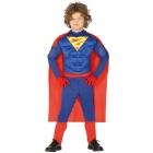 Supermena supervaroņa kostīms puišiem 5-6 gadi - kombinezons un apmetnis