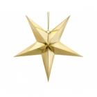 Papīra dekors zvaigzne, izgatavots no zelta spoguļa papīra, ar zelta auklu, diametrs 70 cm