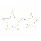 Iekarināma dekorācija - Zvaigznes, izgatavotas no metāla zelta krāsā, komplektā divas zvaigznes, diametrs 20cm un 28 cm.