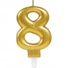 Skaitlis svece 8 Dzirkstošas svinības zelta krāsa augstums 9,3 cm
