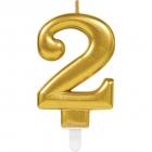 Skaitlis svece 2 Dzirkstošas svinības zelta krāsa augstums 9,3 cm